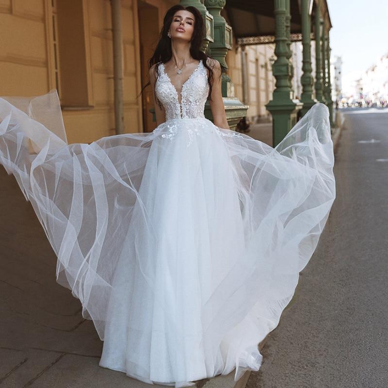 Vestido de Noiva 2021 Sexy Beach Wedding Dress Lace Beads V Back Bridal Dresses A Line Floor Length Korea Wedding Gowns Boho