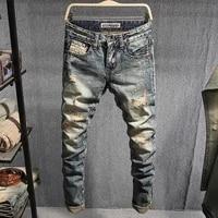 european vintage fashion men jeans retro distressed washed slim fit ripped jeans men streetwear designer casual denim punk pants