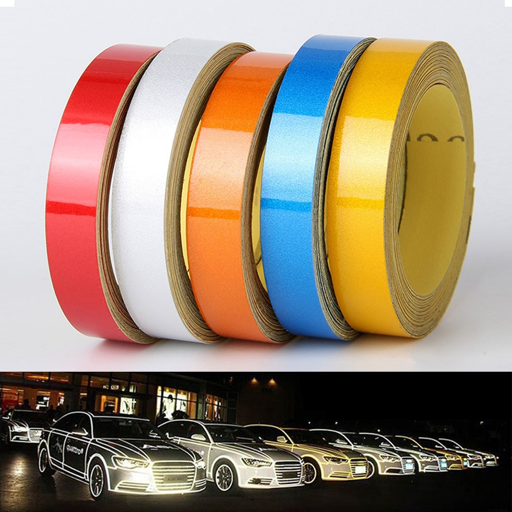 Cinta reflectante mágica de 1cm * 5m para Estilismo de automóviles, pegatina decorativa para coche, pegatina decorativa para coche, cinta de advertencia reflectante de 5 colores