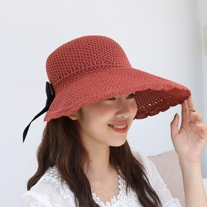 Korean version of the new knitted empty top hat bowknot foldable female hat outdoor riding sun hat sun hat