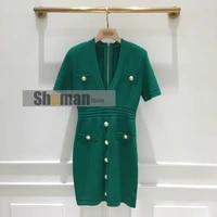 women summer european designer high end fashion slim fit gold bottons sexy deep v neck short sleeve bodycon mini party dress s l