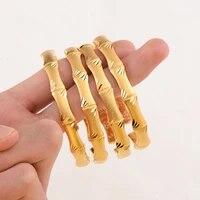 2021 new design gold color dubai bamboo cuff bangle bracelet for woman fashion luxury korean jewelry retro girls bracelet