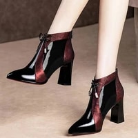 2020 spring autumn patent leather thick high heels pointed toe faux leather zipper style sexy ankle womens boots bota feminina