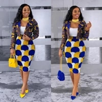 2021 european and american clothing african plus size casual small suit two piece set skirts womens geometric mid calf