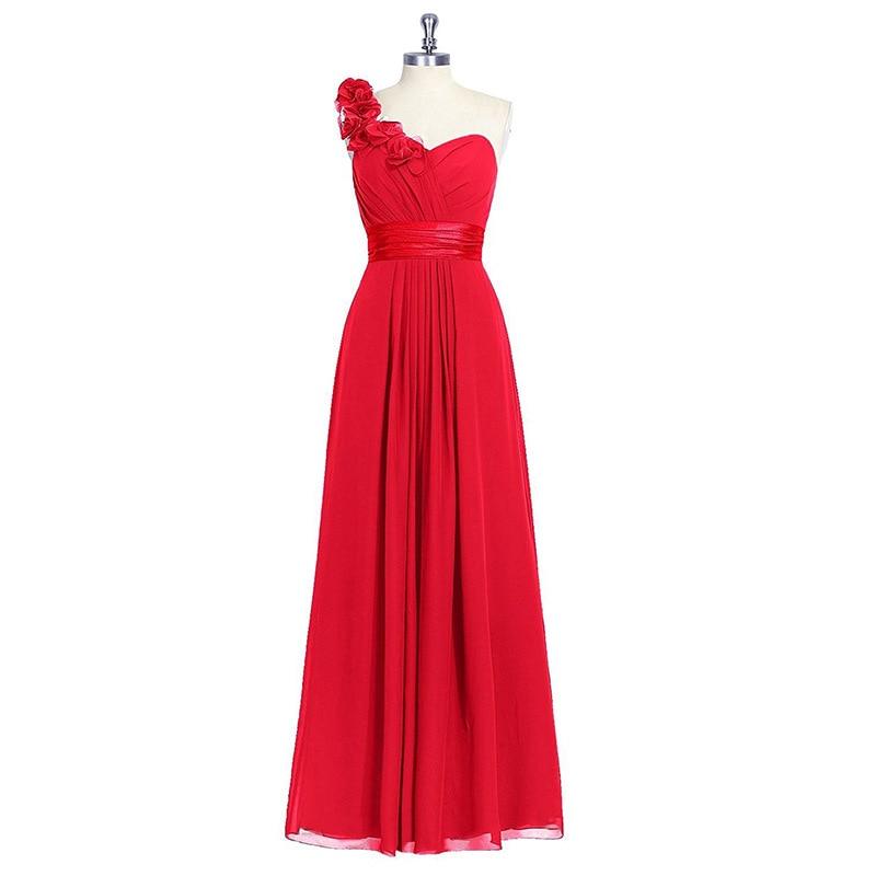 واحد واحد الكتف الأحمر فساتين وصيفة الشرف الأزرق الداكن خادمة الشرف فساتين الشيفون الزهور حزام طويل ملابس حفل زفاف