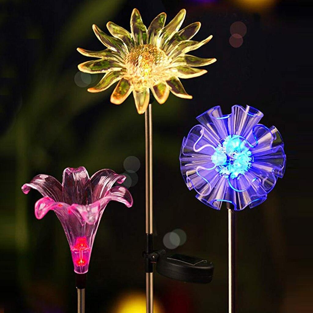 3 uds LED luz Solar Multicolor cambiante lámpara copo de nieve lirio girasol Patio luces para jardín al aire libre Navidad Fiesta Decoración