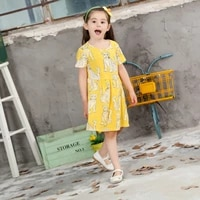 summer kids dresses for girls trend bohemian big animal leopard picture case dress princess casual beach party clothing
