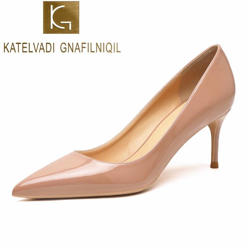 KATELVADI البيج المرأة أحذية براءات الاختراع والجلود أحذية امرأة عالية الكعب الأزياء 6.5 سنتيمتر عالية الكعب أحذية ، K-323