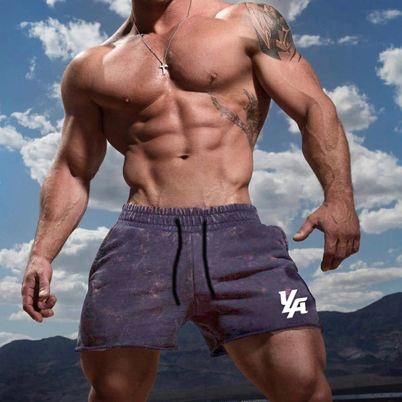 New Men Cotton Beach Shorts Bottoms Gyms Fitness Bodybuilding Man Casual Fashion Print Jogger Workout short Pants Sweatpants