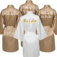 satin silk robes for women gown robes wedding robe bride bridesmaid dressing gown bridesmaid gold custom letter print robe