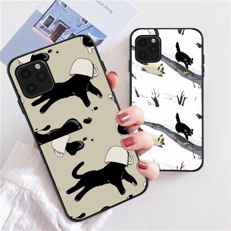 Cartoon Cat Printing Phone Case For iPhone 12 13 Mini 11 Pro Max X XR XS Max 7 8 6s Plus SE 2020 Sil