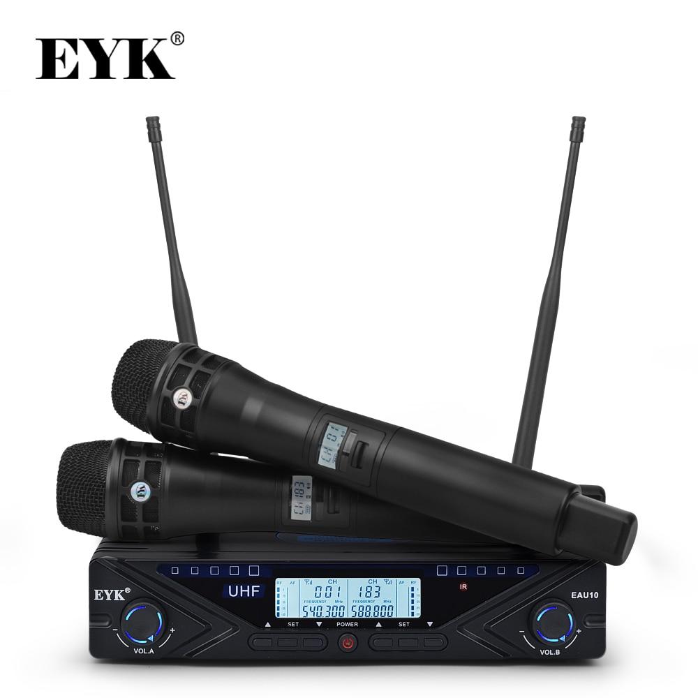 EYK EAU10 ajustable UHF sistema con micrófono inalámbrico profesional Karaoke de micrófono de la etapa 2*100 canales frecuencia 80M recibir