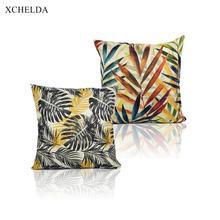 Funda de cojín decorativa de hojas botánicas tropicales 45*45 funda de almohada de lino de estilo escandinavo para asiento de coche sofá de hogar