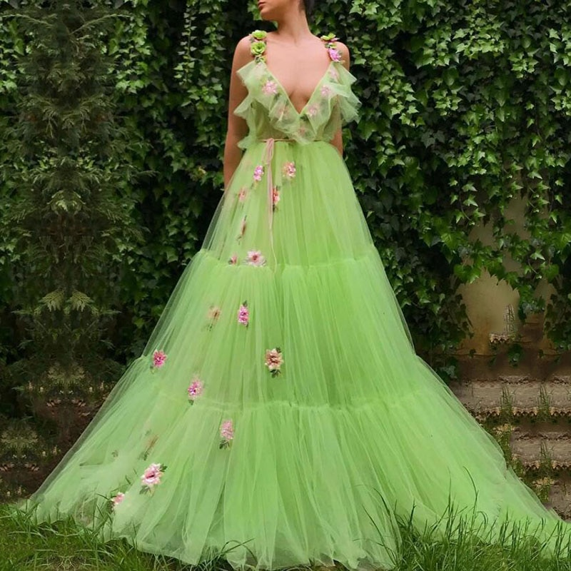 Vert Lime robe de soirée col en v 3D fleurs à la main Spaghetti sangle plis a-ligne formelle robe de bal fête abiye gece elbisesi
