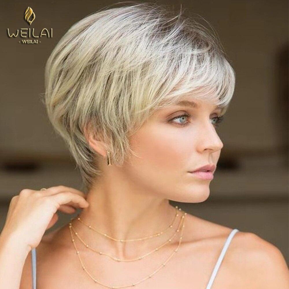 WEILAI-باروكة شعر مستعار قصير مع هامش طبيعي ، شعر صناعي ناعم ، قص شعر مستعار للنساء البيض