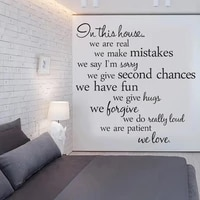 in this house we rre real quotes home creative decals family vinyl wall stickers words livingroom backdrop decorative ru2092