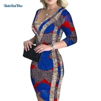 2021 sexy lady partydatting dress african wax printing patchwork v neck 34 sleeve plus size african dresses for women wy8848