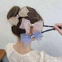bow coiling pearl flower hair rope hairstyle women wild hair ring elegant retro handmade headwear new elastic hair accessories