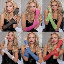 Mode résille gants Sexy Sexy longs gants Punk demi doigt discothèque étiquette gants