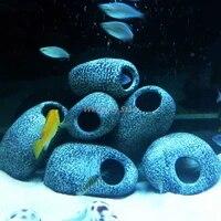 new arrival stones with 2 holes for the aquarium ceramic rock cave fish tank stone aquarium decoration