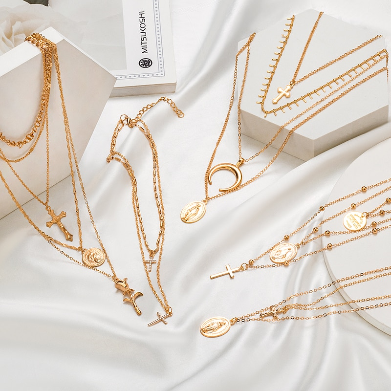 X & P collares de Cruz bohemios para mujeres, hombres, pendiente multicapas, collar de oro Vintage, retrato de gargantillas, 2020, joyería de moda femenina