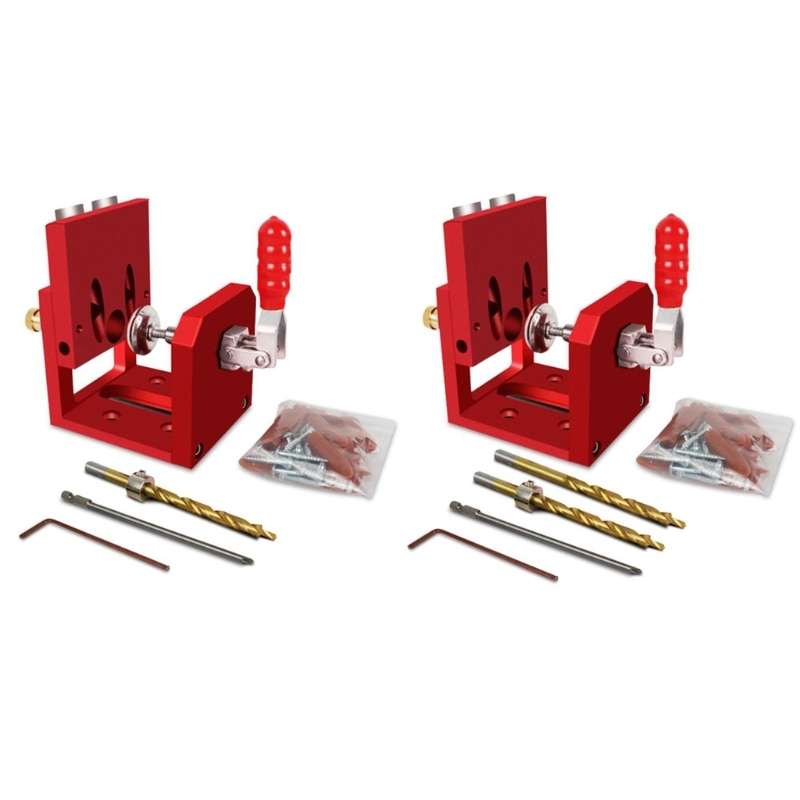 X7YF 9mm/0.35In Woodworking Puncher Jig Kit Tools Aids, Screwdriver Angle Drill Guide Set for Woodworking enlarge