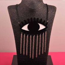 Moda accesorios de bisutería punk Metal borla de acrílico Big Eyes Collar para mujeres Hip Hop