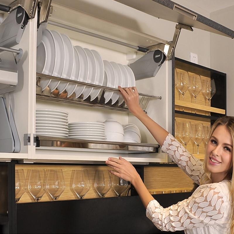 رف أطباق مزدوج من الفولاذ المقاوم للصدأ, رف تخزين لأطباق المطبخ ، 304