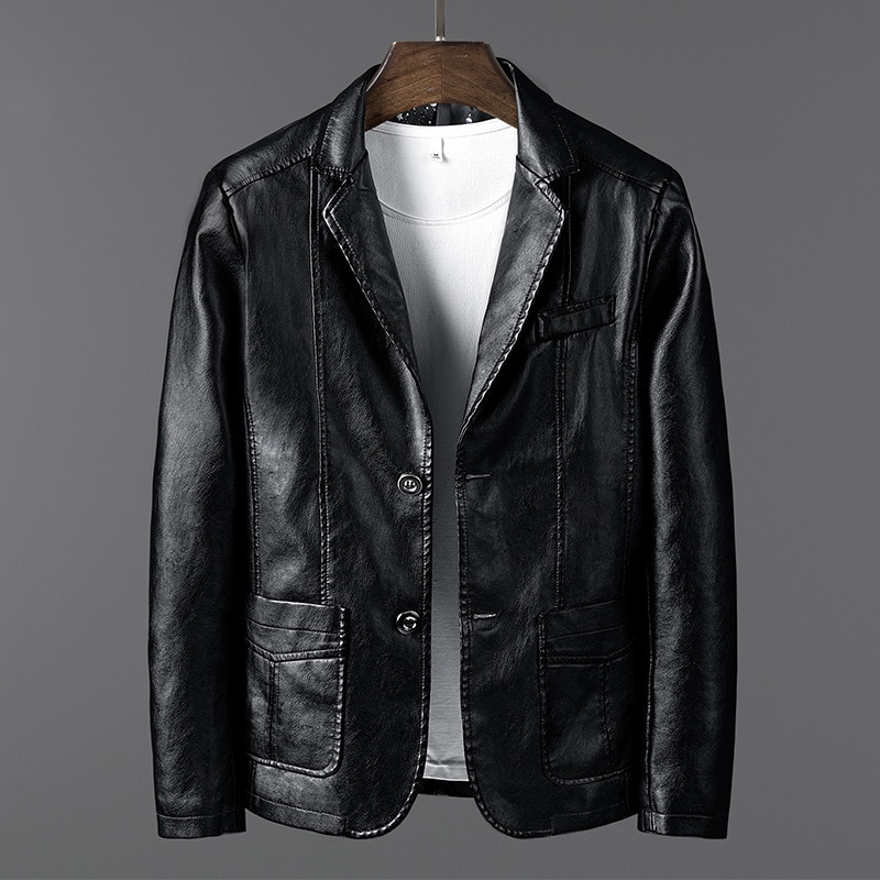 leather jacket men fashion Autumn Winter Plus velvet thickening mens coat Business Slim quality Brand motorcycle