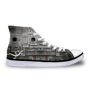 HaoYun Women Vulcanize Shoes Grey Gecko Design Ladies High-top Canvas Shoes Girls Lace-up Flat Sneaker Shoes Sapato Feminino