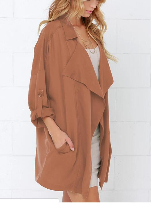 2021 New Spring Autumn Women Trench Plus Size Fashion Simple Loose Turn-Down Collar Solid Long Trench Coat For Women Large Outer