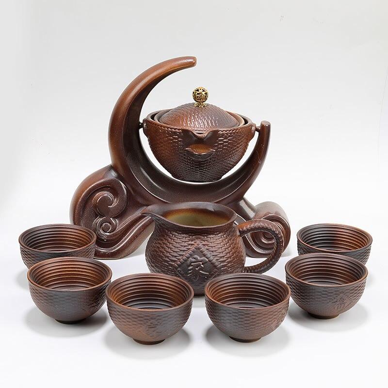 تيوير-مجموعة الشاي-كوب إبريق الشاي الصيني شاي سيراميك-صنع كسول-رجل غطاء المنزل ريترو الحطب