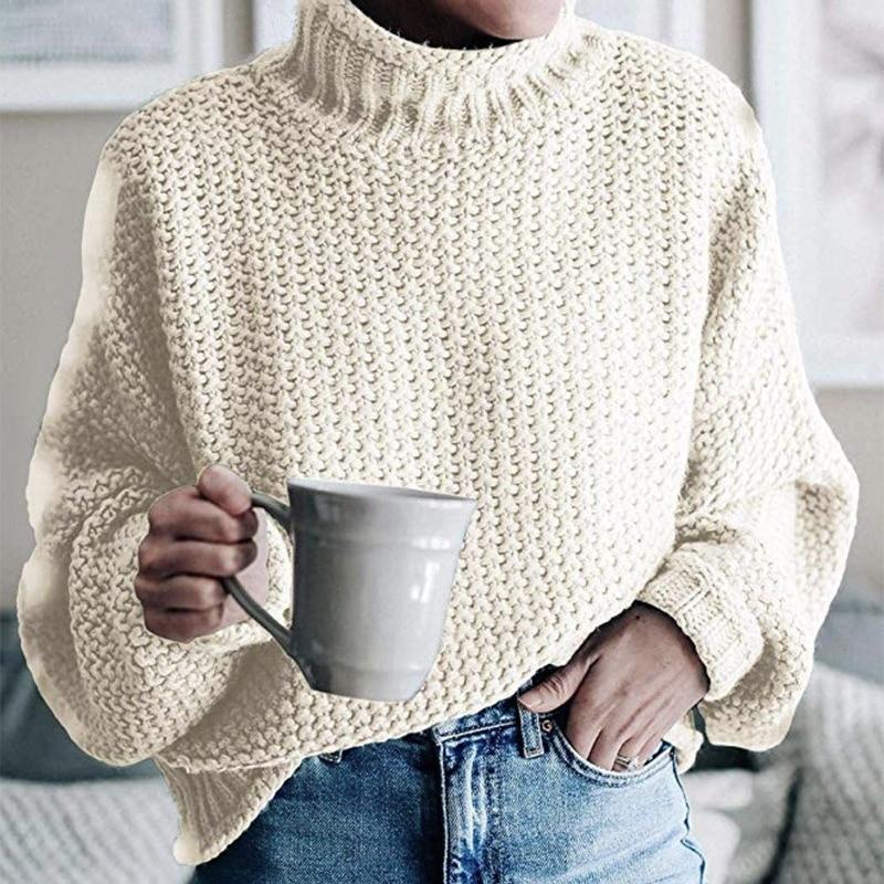Jersey de talla grande de cuello alto de punto para mujer, suéter de manga larga mullido liso para otoño e invierno, jerséis de punto para mujer