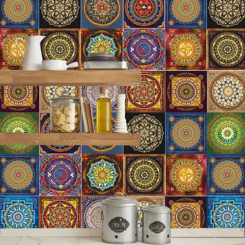 Pegatinas de mosaico de estilo Mandala para sala de estar, cocina, Retro, 3D, impermeable, Mural, calcomanía, decoración de baño, adhesivo DIY