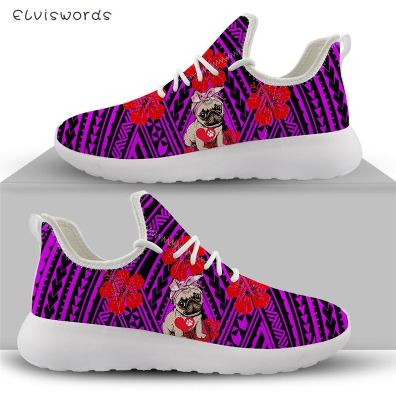 Elvisstars-أحذية رياضية نسائية من بولينيزيا ، أحذية رياضية محبوكة ، أحذية رياضية نسائية ، أحذية غير رسمية في الهواء الطلق مع أربطة مطبوعة ثلاثية ا...