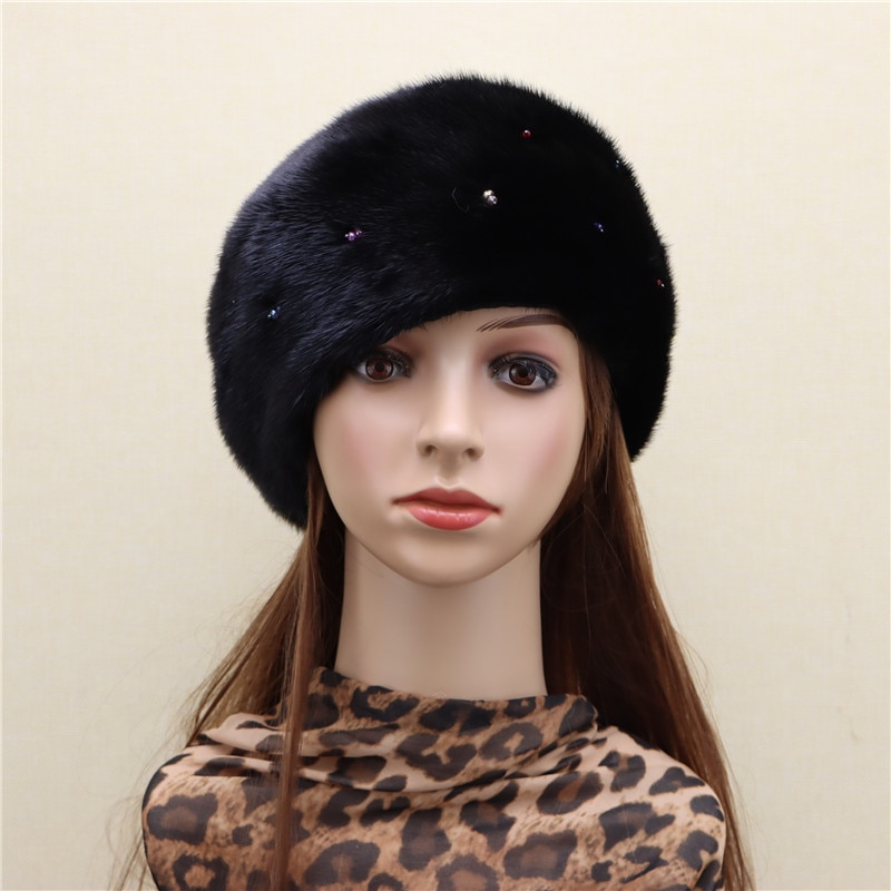 New product whole skin mink starry beret hat whole mink imported leather flashing diamond beret Korean winter warmth