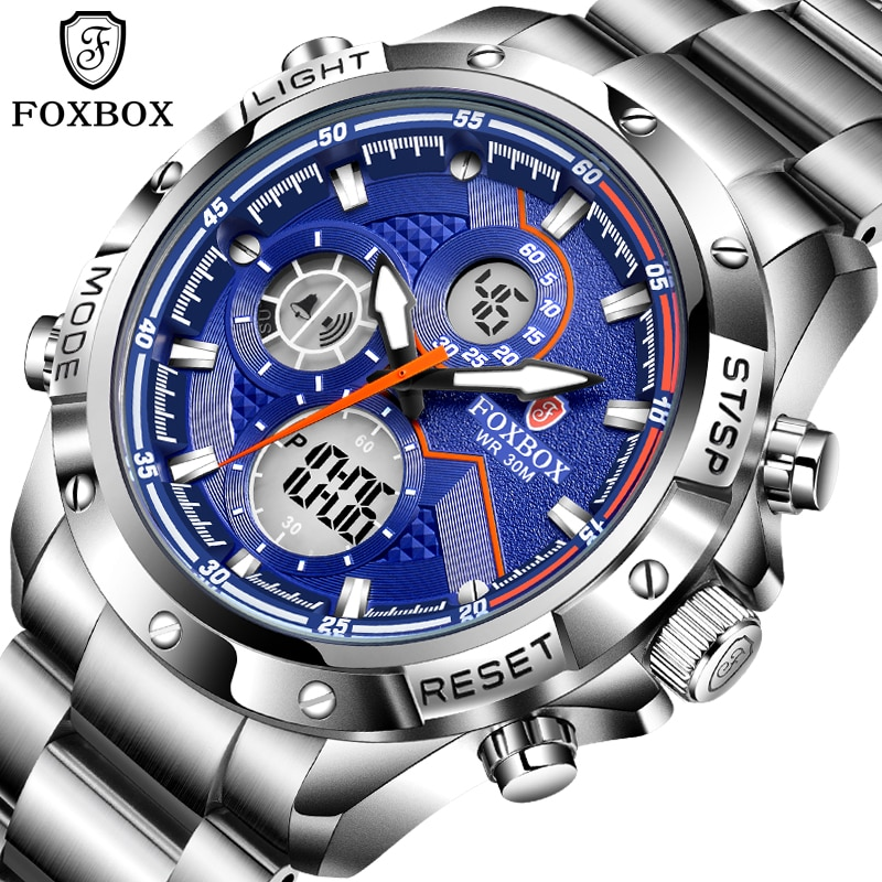 FOXBOX ساعة رجالي 30 متر مقاوم للماء 316L الفولاذ المقاوم للصدأ ساعة اليد الرياضة كرونوغراف أنيق هدية للرجل ساعة تنبيه 2021 جديد + صندوق