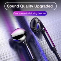 quad core wired headphones 3 5mm sport earbuds with bass mobile phone earphone wire stereo headset mic music earphones