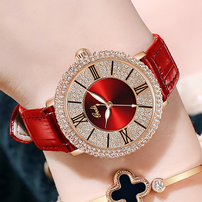 Luxury Women Dress Watches Unqiue Rhinestone Red Genuine Leather Fashion Casual Lady Watch Party Business Wristwatch for Female