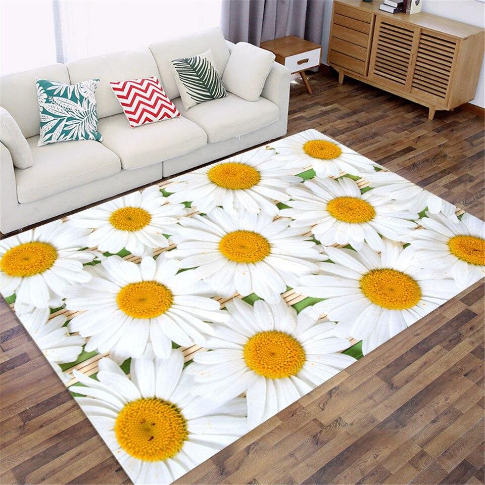 سجادة تزيين طاولة السرير على شكل ديزي لغرفة النوم ، ملحق زهري ثلاثي الأبعاد قابل للغسل للحمام ، أريكة غرفة المعيشة