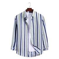 best sale plus size men casual loose fashion vertical striped button down long sleeve shirt