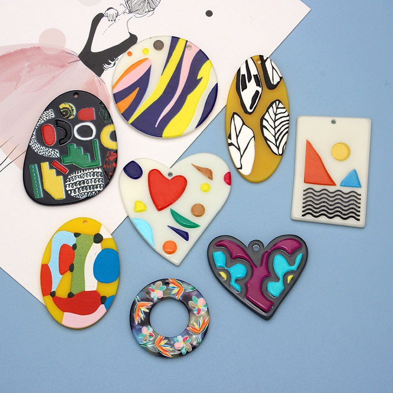 50PCS/lot Doodle Cartoon Love Heart Painting Jewelry Accessories Hand Made Earrings Connectors DIY Pendant Components Charms