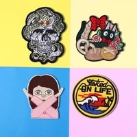 1pcs punk skeleton snake patch embroidery flower basket black cat patches for clothing badge army iron on stickers