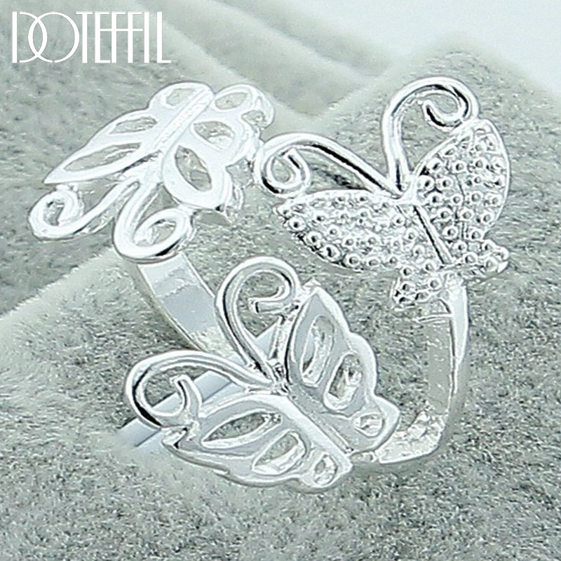 DOTEFFIL 925 Sterling Silver Three Butterfly Ring For Women Wedding Engagement Party Fashion Charm Jewelry doteffil 925 sterling silver butterfly aaa zircon bracelet for women fashion wedding engagement party charm jewelry