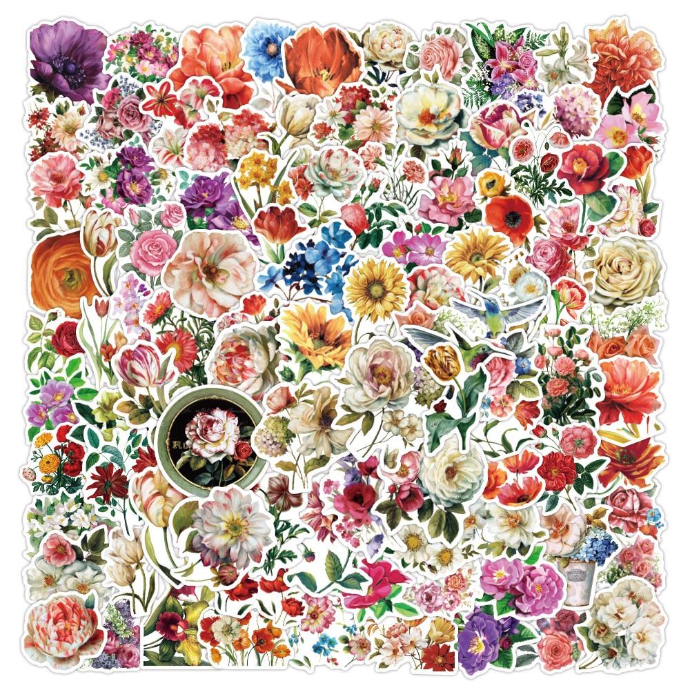 etiquetas-de-rosas-de-flores-frescas-para-bricolaje-100-uds-papeleria-para-portatil-calcomania-para-scrapbook-monopatin-pegatina-para-casco-de-guitarra