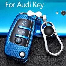 Audi 3 llavero con botones cubierta caso TPU suave Premium 360 grados la llave de protección caso para Audi A1 A3 Q3 Q7 R8 A6L S3 S6 TT