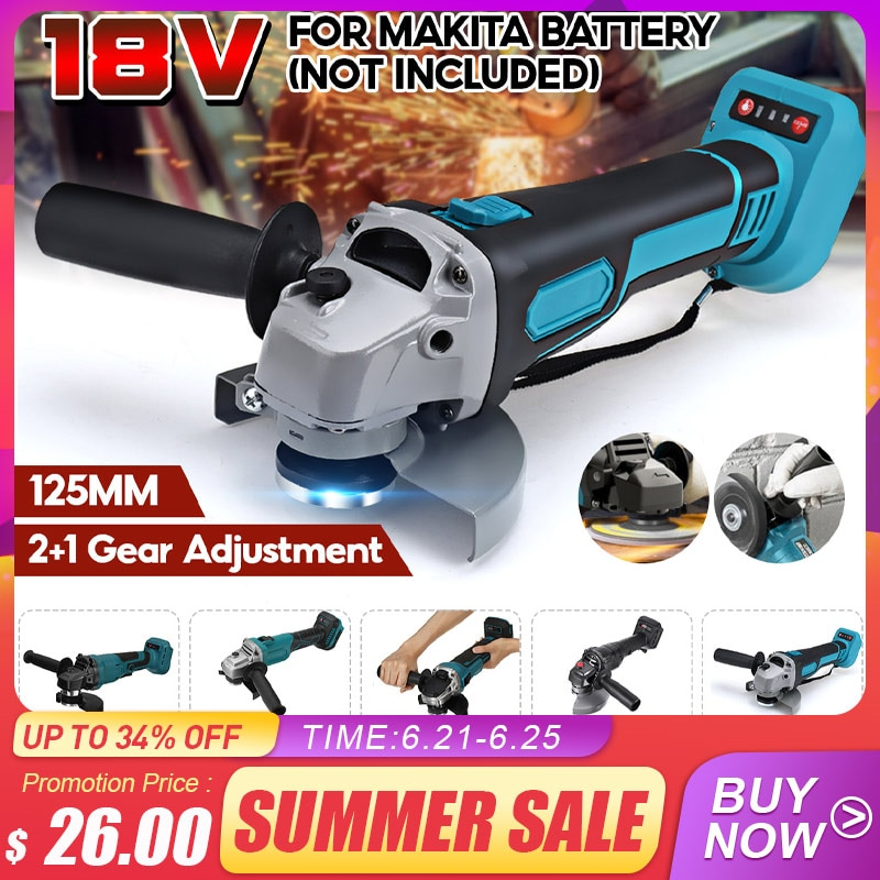 AliExpress - 18V 800W 125mm Brushless Cordless Impact Angle Grinder without battery DIY Power Tool Cutting Machine Polisher Fr Makita Battery
