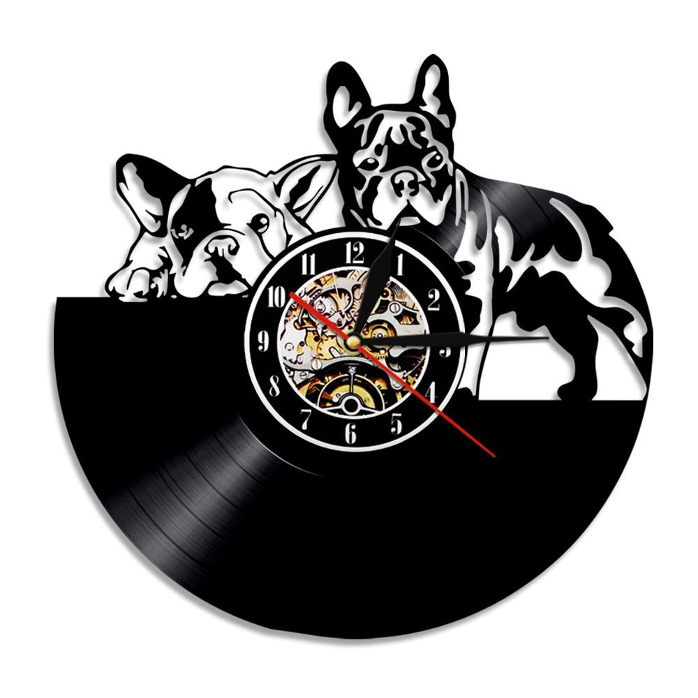 French Bulldog Vinyl Record Wall Clock Modern Design Puppy Dog Pet Album Music Record Artwork Animal Lover Home Decor Wall Watch