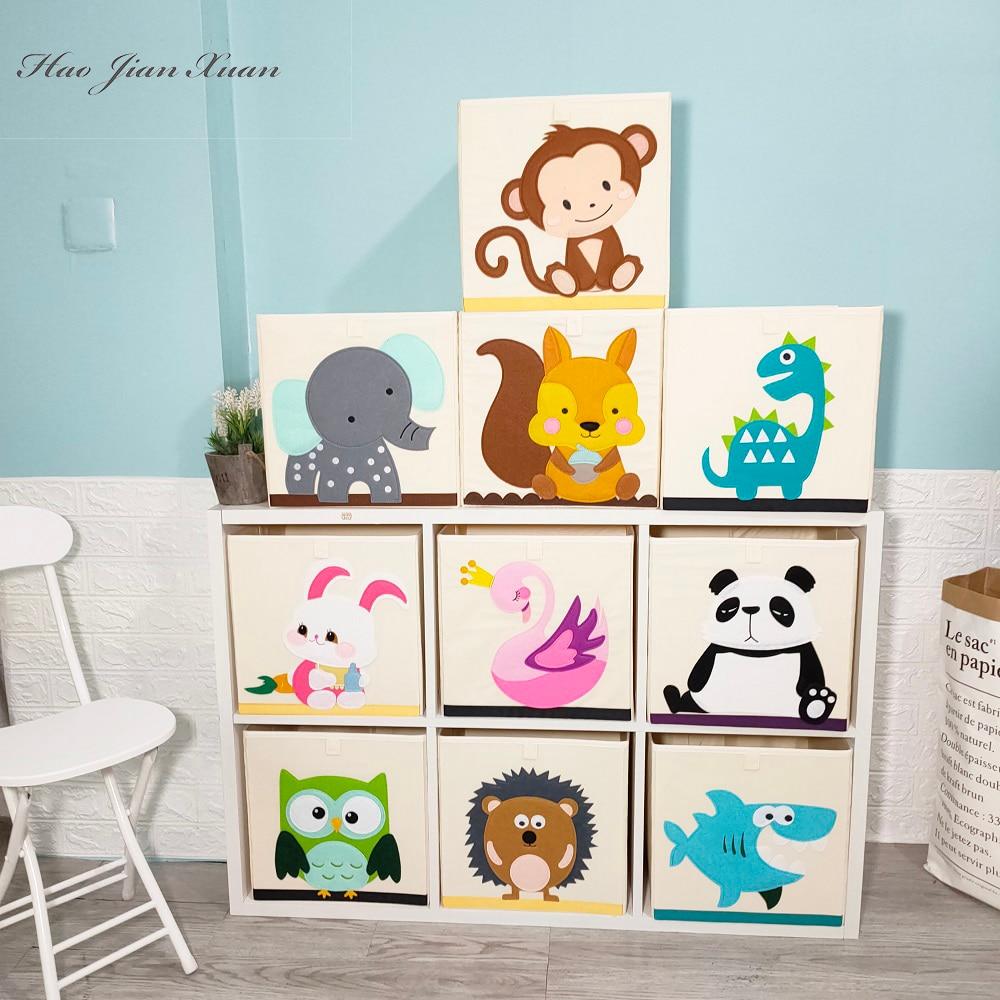 Cube Oxford Cloth Animal Embroider Folding Storage box kid Toys organizer children Sundries Storage Basket organizador 33*33*33