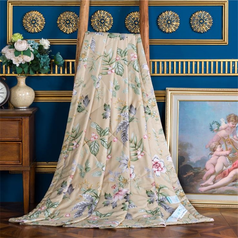 Colcha de aire acondicionado de Manta de algodón modal fresca de verano, manta fina con estampado de flores de aguacate para verano